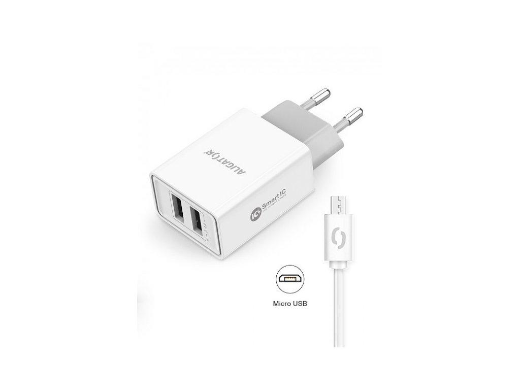 Nabíjačka 2v1 - USB a microUSB  5V  2,4A